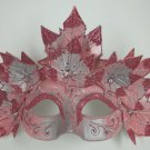 Light Pink Wood Nymph Venetian Mask Masquerade Fairy Costume Ivy Leaves Leaf