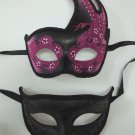 Pink Black Flame Couples Man Woman Masquerade Mardi Gras Masks Male Female Set