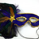Purple Gold Green Side Feather Masquerade Mardi Gras Colors Mask