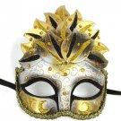 Black Gold Venetian Mask Masquerade Mardi Gras Party Leaf Cascade Crystals