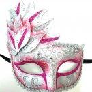 Pink Silver Venetian Mask Masquerade Mardi Gras Party Leaf Cascade Rhinestones