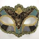 Green Lilac Black Gold Small Venetian Mardi Gras Masquerade Mask Patchwork