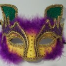Cat Purple Green Yellow Gold Masquerade Ball Mardi Gras Mask Brillant Fabric