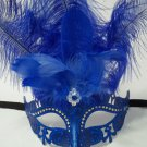 Crystal Princess Dark Blue Venetian Feather Mardi Gras Masquerade Mask