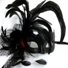 Black Red Dot Fancy Lady Feather Flower Masquerade Party Mardi Gras Mask