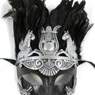 Men Silver Greek Roman Warrior Knight Caesar Masquerade Party Ball Feather Mask