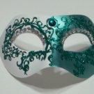 Green Crystal Colombina Masquerade Mardi Gras Mask Italy Italian Venetian Made
