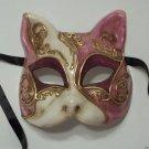 Purple Gold Gatto Cat Masquerade Mardi Gras Mask Italy Italian Venetian Made