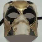 Black Gold Cream Bauta Venetian Masquerade Mardi Gras Mask Italy Italian Made