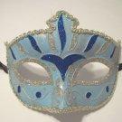 Light Blue Silver Stripe Venetian Mardi Gras Masquerade Mask Prom Dance
