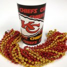 Kansas City Chiefs 22 oz Cup 12 Mardi Gras Beads Red Gold Party Supplies Favors