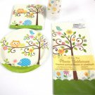 Happi Tree Owl Baby Shower Basic set Party Supplies 8 Guests Napkins Plates 33pc