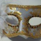 White Gold Flower Venetian Value Mask Masquerade Mardi Gras
