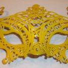 Yellow Venetian Laser Cut Mardi Gras Masquerade Half Mask Elaborate Design