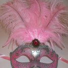 Light Pink Silver Venetian Mask Feather Masquerade Mardi Gras 12""