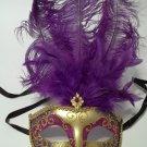 Dark Purple Gold Venetian Feather Masquerade Ball Mardi Gras Prom Mask