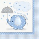 Umbrella Elephant Blue Boy Baby Shower Party Supplies Beverage Napkins