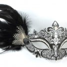 Black White Dot Side Feather Masquerade Mardi Gras Metal Crystal Crown Mask