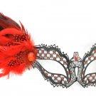 Red Black Dot Side Feather Masquerade Mardi Gras Metal Mask