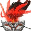 Red Black Dot Feather Masquerade Mardi Gras Metal Crown Mask