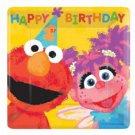 "Sesame Street 7"" Sq Dessert Plates 18 Party Supplies 1st Birthday Elmo Abby"