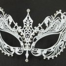 White Crystal Beautiful Eyes Laser Cut Venetian Mask Masquerade Metal Filigree