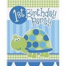 1st Birthday Blue Turtle Party Supplies Invitations 8 ct