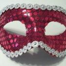 Hot Pink Sequin Mardi Gras Masquerade Party Value Mask