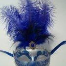 """Royal Blue Feather Silver Venetian Mask Masquerade Mardi Gras 12"""""""