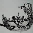 Black Crystal Butterfly Laser Cut Venetian Mask Masquerade Metal Filigree