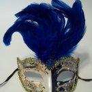 Blue White Vintage Musica Venetian Feather Small Mardi Gras Masqueade Mask