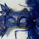 Blue Venetian Masquerade fairy costume Ivy feather Leaf Nymph  Mask