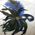 Blue Royal Feather Masquerade Mardi Gras Costume Mask