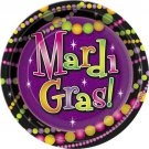 """Mardi Gras Beads 9"""" Lunch or 7"""" Dessert Plates 8 ct Party Supplies Decor"""