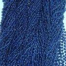 60 Blue Mardi Gras Beads Party Favors Metallic Necklaces 5 Dozen Lot