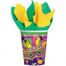 Mardi Gras Beads Party Supplies Masquerade Mask 9 oz Cups Hot cold 8 ct Decor