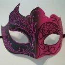Hot Pink Black Venetian Mask Masquerade Mardi Gras Free Shipping
