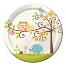 Happi Tree Baby Shower Sweet Baby Owl Paper Plates Lunch Dessert Pink Blue