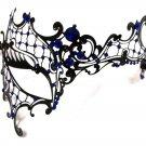 Black BLUE Rhinestone Phantom Laser Cut Venetian Masquerade Metal Filigree Mask