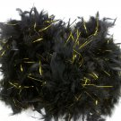 """Black Chandelle Feather Boa Gold Tinsel 72"""" 6 Ft Masquerade or Birthday 40 gm"""