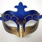Dark Blue Gold Scroll Venetian Mask Masquerade Costume Prom Dance Men Woman
