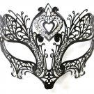 Double Heart Black Laser Cut Venetian Masquerade Metal Filigree Mask Rhinestones