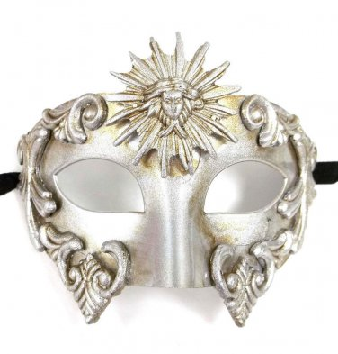 Silver Sun God Roman Warrior Greek Venetian Masquerade Mardi Gras Mens Mask