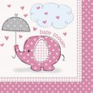 Umbrella Elephant Pink GIrl Baby Shower Party Supplies Large Lunch Napkins