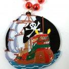 Pirate Ship Jolly Roger Skull Crossbones Gasparilla Mardi Gras Necklace Beads