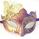 Dark Purple Gold Butterfly laser cut Mardi Gras Masquerade Mask Adult