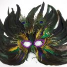 Purple Green Gold Cat Eye 3 Peacock Feather Masquerade Prom Mask