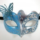 Light Blue Silver Butterfly laser cut  Mardi Gras Masquerade Mask