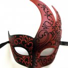 Black RED Masquerade Swirl Flame Mask Mardi Gras Ball Dance Prom