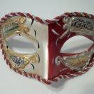 Crimson Dark Red White Vintage Musica Venetian Small Mardi Gras Masquerade Mask